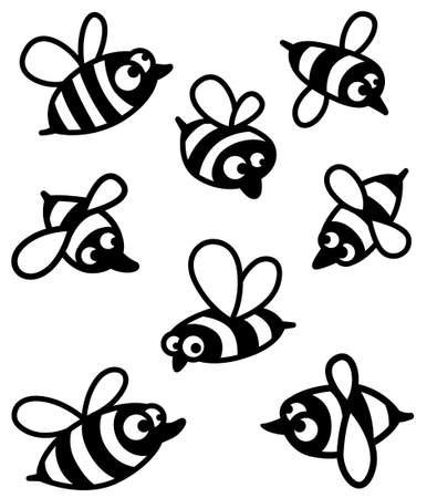 Set with cute bee silhouettes Illustration