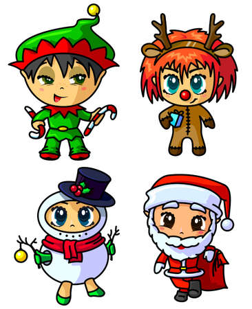 Cute Christmas chibi caracters set Vector