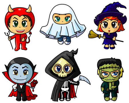 brujas caricatura: Lindo chibi Halloween caracters conjunto