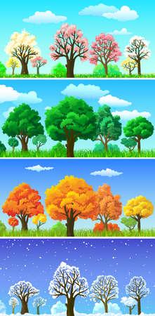 hoog gras: Vier seizoenen bomen en landschap banners