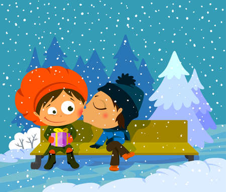 Kiss of the romantic couple on a bench in the winter Vector