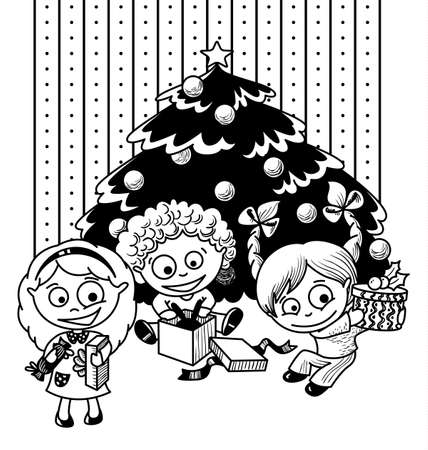 Children open a gift under the Christmas tree Vector