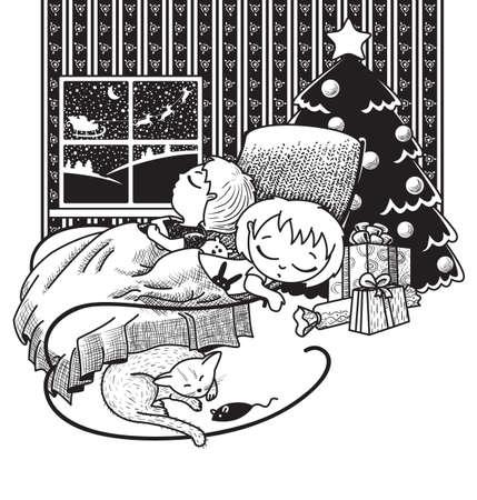 dormir habitaci�n: Los ni�os estaban dormidos, esperando que Santa Claus en la noche de Navidad