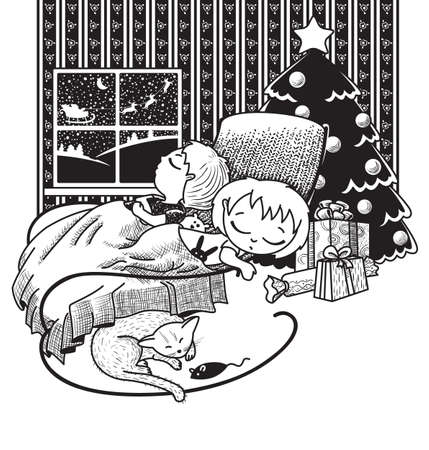 The children were asleep, waiting for Santa on Christmas night Vector