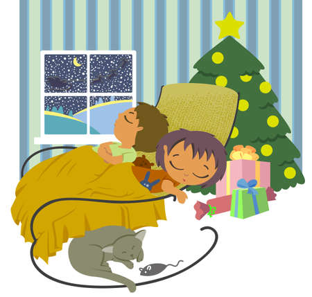 The children were asleep, waiting for Santa on Christmas night Stock Vector - 11066723