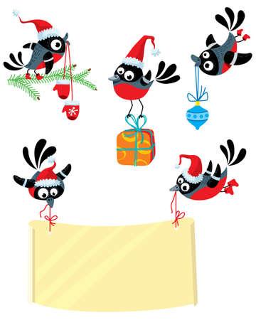 bullfinch: Set wuth cute Christmas bullfinch birds Illustration