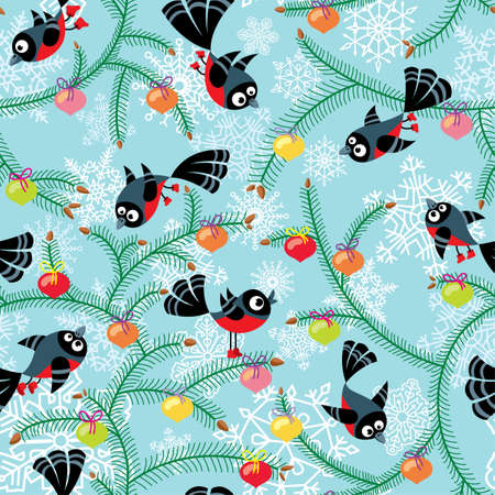 Cute Christmas seamless with birds Vector