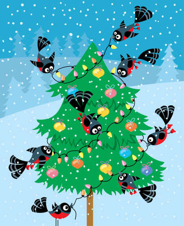 robin bird: Birds decorate the Christmas tree
