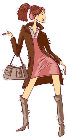 dress coat: Sketch with fashion trendy girl