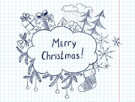 Cute doodle christmas frame sketch Stock Vector - 11865563