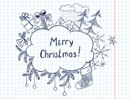 cute doodle: Cute doodle christmas frame sketch