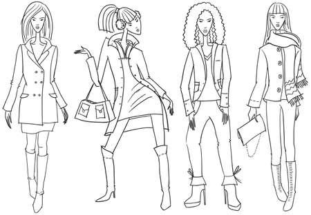 catwalk model: Set with sketches of fashion girls Illustration