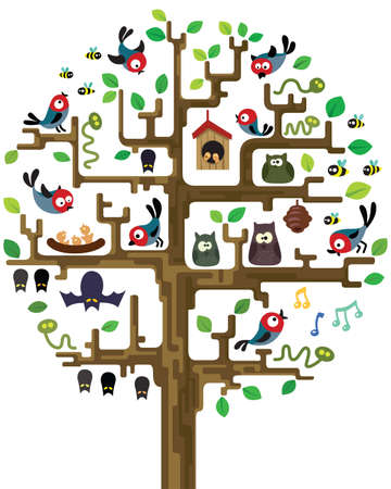 Colourful illustration of stylized tree with inhabitants Ilustracja