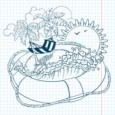 Summer doodles with life buoy Vector
