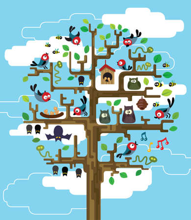nestling birds: Colourful illustration of stylized tree with inhabitants Illustration