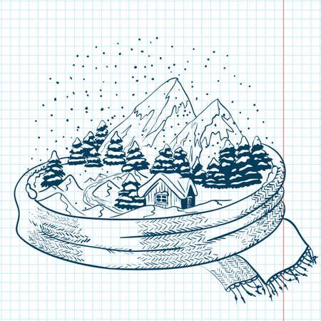Garabatos de invierno con el paisaje, envueltos en un pañuelo Foto de archivo - 11865567