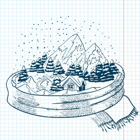 Winter doodles with landscape, wrapped in a scarf Vector