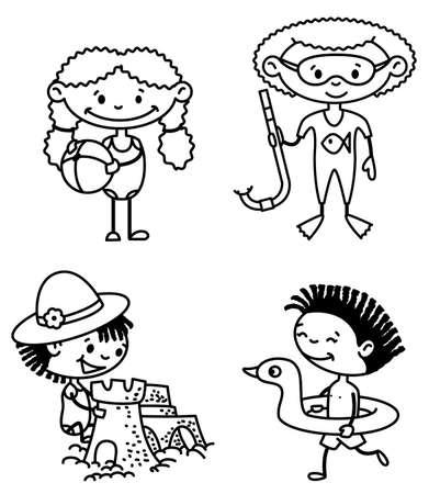 enfant maillot de bain: Jeu de l'�t� mignon afroamerican enfants (version couleur)