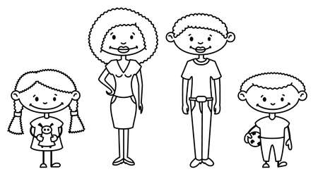 siblings:  Cute African-American Family (doodle version) Illustration