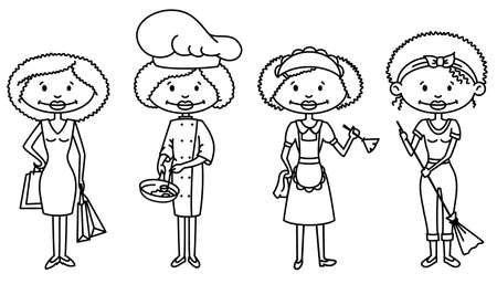 cartoon cleaner: Cute African-American Housewives (outline version)