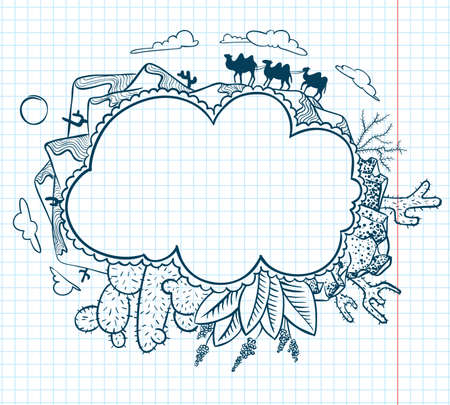 Cute desert doodle frame Stock Vector - 12248891
