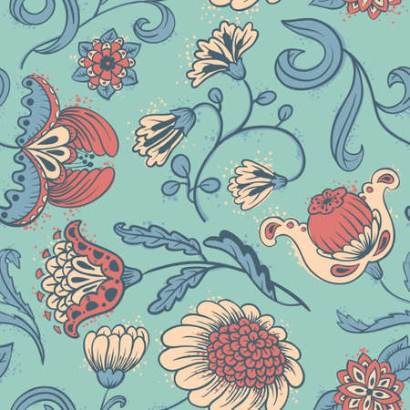 Floral abstract seamless pattern Ilustracja