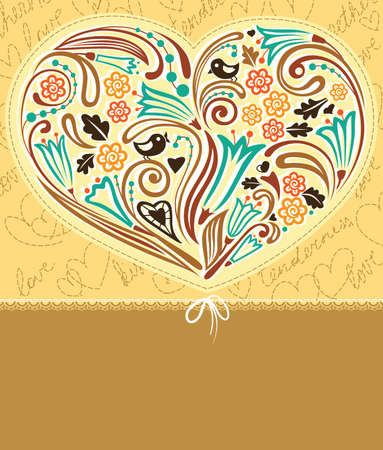Cute vintage border with heart Vector
