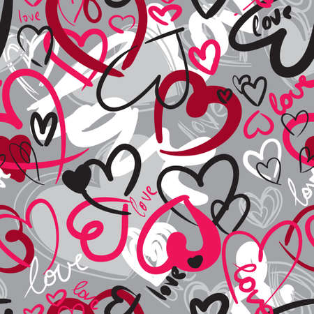 Cute valentines seamless pattern with hearts Illustration