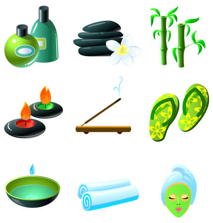 Colorful SPA icons set Vector