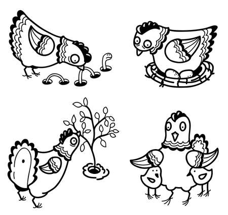 Cute chicken set (outline version) Vector