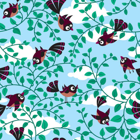 grove: seamless pattern with cute birds