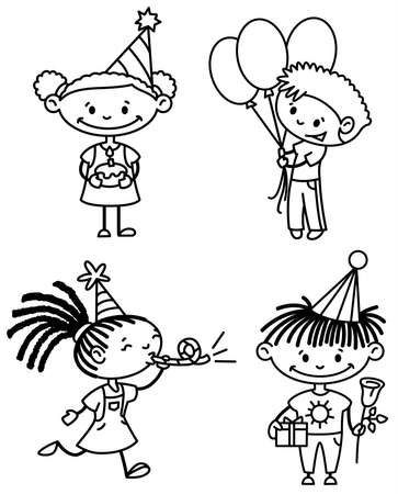 Afroamerican Children birthday set (outline version) Vector