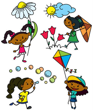 flying kite: Set with cute afroamerican girls characters, color version