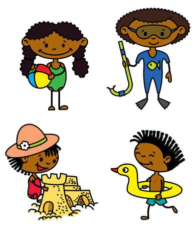 beach ball girl: Set of cute summer afroamerican children (color version)
