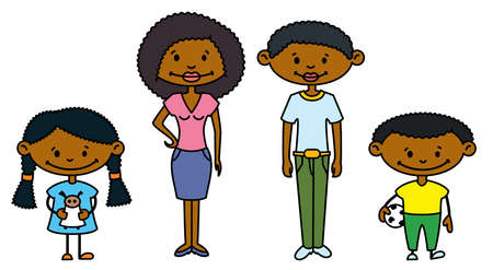 Cute African-American Family (color version) Vector