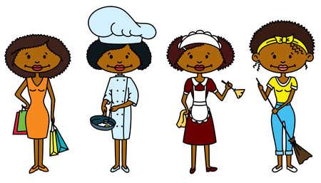 servicio domestico: Lindo afro-americanos Ama de Casa (versi�n en color)