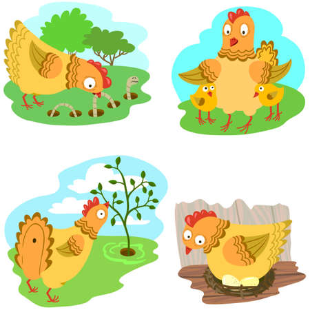 roost: Cute chiken set illustrarion Illustration