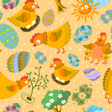 Cute color easter seamless pattern Vector