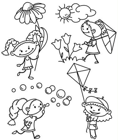 flying hat: Set with cute girl caractesr, outline version Illustration
