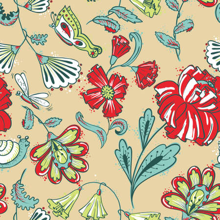 Floral seamless pattern with dragonfy, slime and butterfy Vector