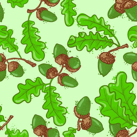 Seamless pattern set with acorns Vector