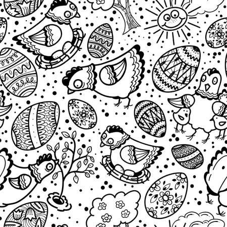 arbol de pascua: Lindo blanco y negro sin fisuras patrón de pascua Vectores