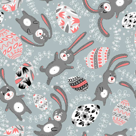 Easter seamless with funny rabbits Vector