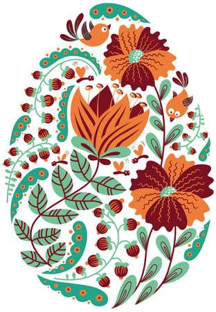 oval shape: Cute Doodle Floral  Easter Egg