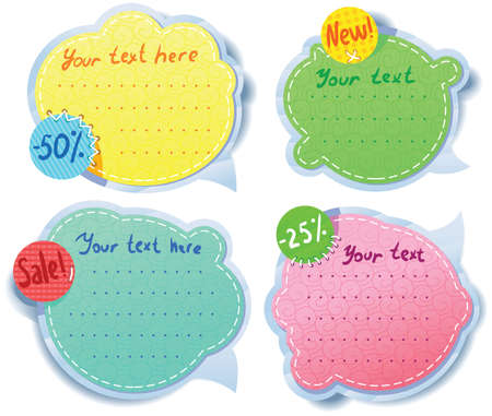 Cute Speech bubbles templates set Stock Vector - 13039208