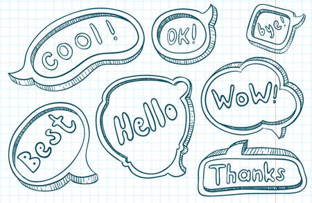Cute doodle  hand-drawn speech bubbles Vector