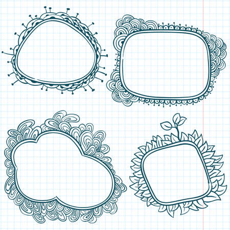 caged: Hand-drawn sketchy doodle frames on a caged paper background