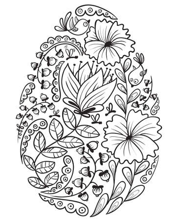Cute Doodle Floral  Easter Egg Stock Vector - 13057202