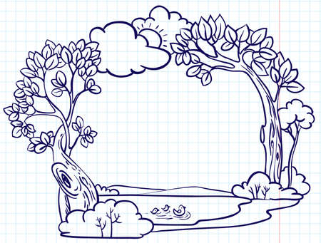 Hand-drawn sketchy doodle nature frame on a caged paper background Vector