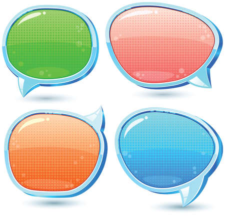 declare: Set of colorful, glossy speech bubbles with texture Illustration
